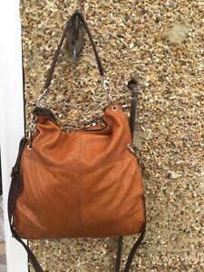 Large Fine tan leather slouch shoulder bag