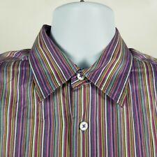 Bugatchi Uomo Mens Multi Color Striped Dress Button Shirt Sz Large L