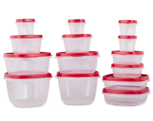 NEW Rubbermaid 24 Piece Food Storage Containers & Red Lids Lunchbox Lunch Set!