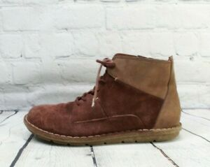 CLARKS Womens Tamitha Key Mahogany Suede Lace-up Ankle Boots Size 8.5 M