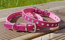 Dog Collar PU Leather Puppy Jack Pug Pom Chi for XS Small Diamante Glitter Bling X-small 21-28cm W 1cm Dark Pink