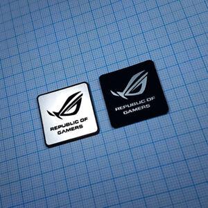 2 x Republic of Gamers Sticker Aluminium - Metallic Case Badge - 1 inch x 1 inch