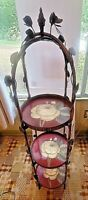 Vintage Handpainted 3 Tier Unit Round Shelf Camellia Tray Folds up Victorian