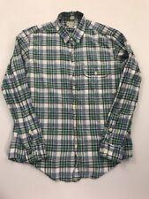 J Crew Men's Green Plaid Long Sleeve Button Front Shirt Size Medium