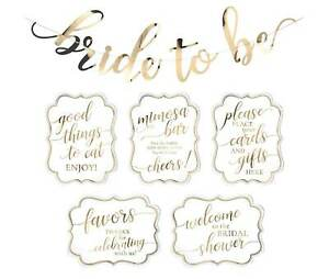 White and Gold Bridal Shower Signs and Bunting