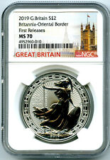 2019 GREAT BRITAIN 1OZ SILVER BRITANNIA ORIENTAL BORDER NGC MS70 FIRST RELEASES