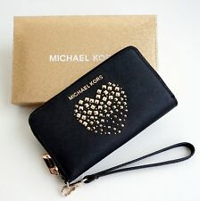 Michael Kors Portemonnaie GIFTABLES LG Flat Case Leather Black Gold