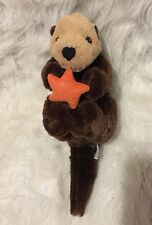 "15"" Sea Otter Holding Orange Shiny Starfish Stuffed Plush Animal by Unipak"