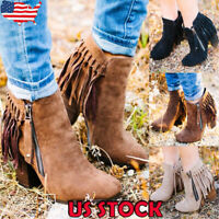 US Women Zipper Tassel Ankle Boots Ladies Chunky Med Heel Casual Round Toe Shoes