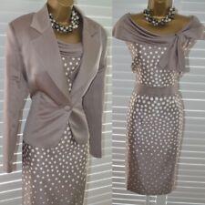 ~ NASS C ~ Beautiful Praline Dress & Jacket Size 16 Suit Mother of the Bride