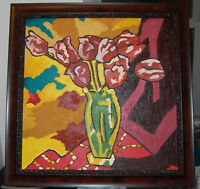 """Original Painting """"THICK ROSES"""" Oil on Canvas FRAMED 27"""" x 27"""" (Monet/Floral)"""