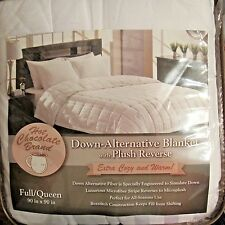 "Aeolus Down Luxury Alternative Blanket Plush Reverse Full/Queen White 90' x 90"""