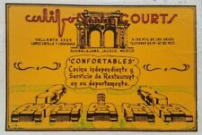 California Courts Mexico Motel Hotel 1950s Vintage Stamp Luggage Label