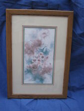Solid Oak Framed Flower Print Picture-21x15-June Matthews-Pink Floral-32/1950-Ec