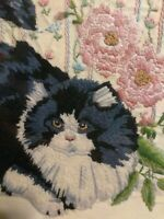 VINTAGE HAND EMBROIDERED LINEN CAT PICTURE
