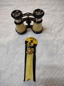 Rare 1920's Iowa Hawkeye Football Pinback Button Ribbon Football & Binoculars