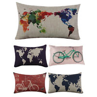 HO_ FT- World Map Birds Print Linen Rectangle Throw Pillow Case Cushion Cover Ha