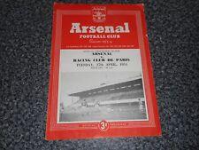 Arsenal V Racing Club de Paris (France) annuel 1953/4 défi amical