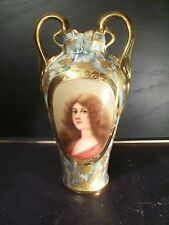 Art Nouveau Antique Royal Vienna Hand Painted Portrait Vase Signed Wagner