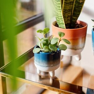 Mojave Glaze Mini Blue Planter From Sass & Belle, Indoor Footed Plant Pot