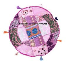 "16"" Indian Bohemian Round Floor Pillow Patchwork Meditation Floor Cushion Cover"