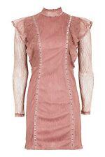 Mini Vestido Topshop Damas Gótico Con Volantes Rosa 14/EU 42/US Reino Unido 10 RRP £ 45