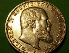 1908-F GERMANY Wuerttemberg SILVER 3 MARK Beautiful Example