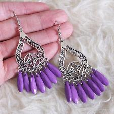 Beads Fringed Drop Hook Earrings Vintage Womens Bohemian Hippies Purple Teardrop