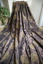 NEXT BROWN PAIR CURTAINS,66WX72D,YELLOW VELVET FLOCKS,TAFFETA,SHEEN,LINED,EYELET