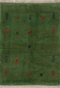 Soft Plush Tribal Green Gabbeh Wool Area Rug Hand-Knotted Oriental Carpet 3x5