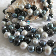 "34"" 6-8mm Multi Color Freshwater Pearl Necklace Gray Peacock Black Strand"
