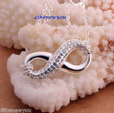 Christmas Xmas Gifts INFINITY Pendant Necklace 925 Sterling Silver Double Chain