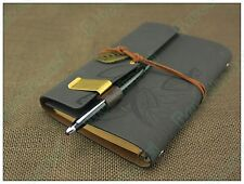 "7""x5"" Refillable journal Books Handmade Vintage Matte Leather Notebook Dark Grey"