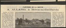19 BRIVE A. ALLARD PAPETERIE DE LA BOUVIE PUBLI-REPORTAGE 1934