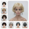 Lady Women Wig Fashion Short Curly Wigs Blonde Brown Grey Wavy Hair Wig+Wig Cap