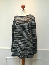 PHASE EIGHT ladies blue / white oversized thick knit chunky jumper UK 12