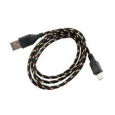 Cable Datos Cargador Micro USB de Nylon Negro para Samsung Nexus LG HTC Nokia