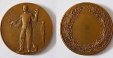 Medaille Bronze Fechter Fechten signiert Adolphe Rivet um 1900 Frankreich