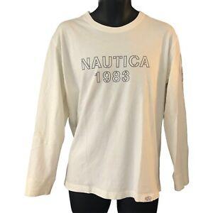Nautica Men's Long Sleeve T Shirt Large White 1983 Graphic Logo