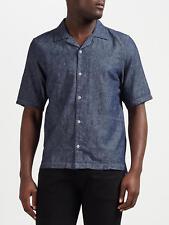 Denham Camp Linen-Blend Shirt CLCH, Indigo - BNWT SIze M - RRP £110