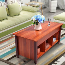 Lift Top Coffee Table W/ Hidden Compartment Storage Shelf Living Room  Furniture Light Brown