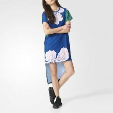 Robe imprimée bleu en polyester pour femme