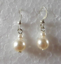 SIMPLE 2 CREAM PEARL DROP EARRINGS SILVER PLATED WIRES