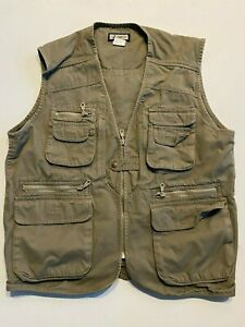 Bayujo 100% Cotton Full Zip Outdoor Fishing Vest Men's Large