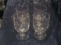 4x Lovely stemmed glasses unmarked 4¾ ins tall