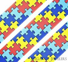 """High Quality 1"""" Autism Awareness Puzzle Printed Grosgrain Ribbon Hair Bow Cheer"""