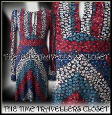 BNWT CELIA BIRTWELL Topshop Red Blue Floral 40s Backless Pinup Tea Dress UK 14
