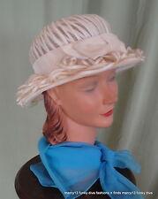 Cute Vintage 50's 60's Miss Ken Cream Raffia Derby Hat w Velvet Bow 21.5 Inside