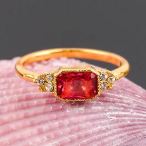 Fashion Yellow Gold Ruby Ring Women Red Gemstone Wedding Engagement Jewelry Sz 8