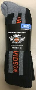 2 Pairs of Harley Davidson Reinforced Riding Socks Size L 9 - 13 NEW w/ Tags FF
